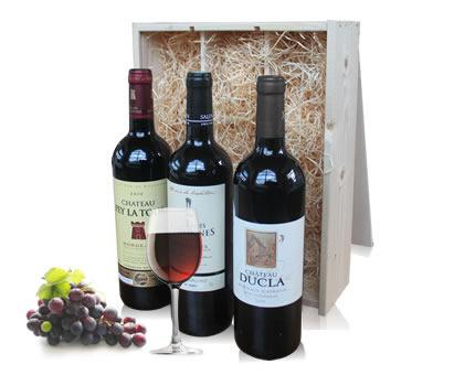 Trio of Bordeaux Wine in wooden crate