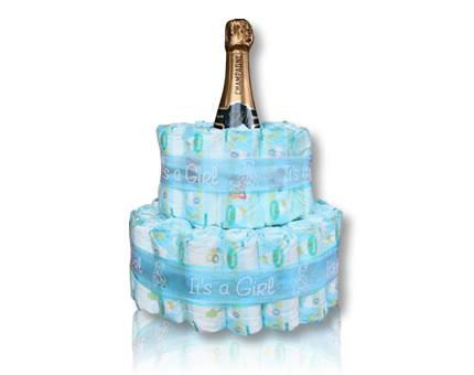 Diaper Cake-It's a Girl-with French Champagne