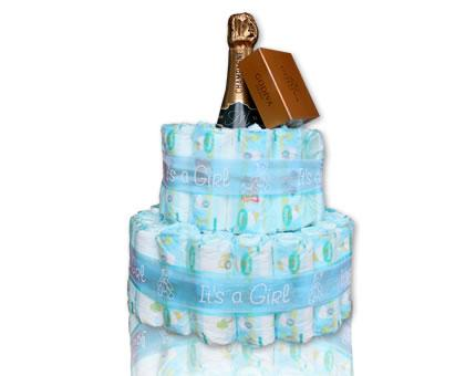 Diaper Girl-It's a girl-with French champagne and Godiva chocolates