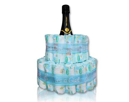 Diaper Cake-It's a Girl-with Spanish Cava