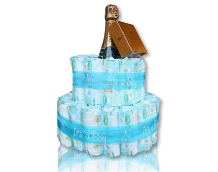 Diaper Cake-It's a Boy-with French Champagne and Godiva chocolates