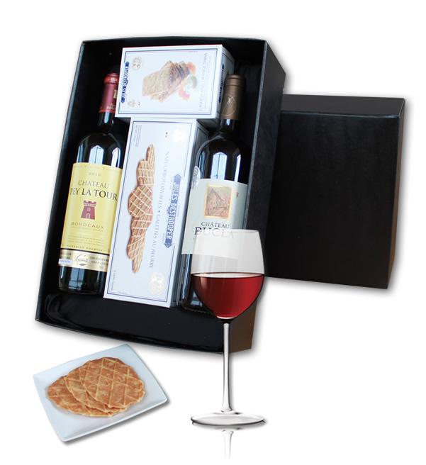 Luxury giftbox Bordeaux wine and Jules Destroopere