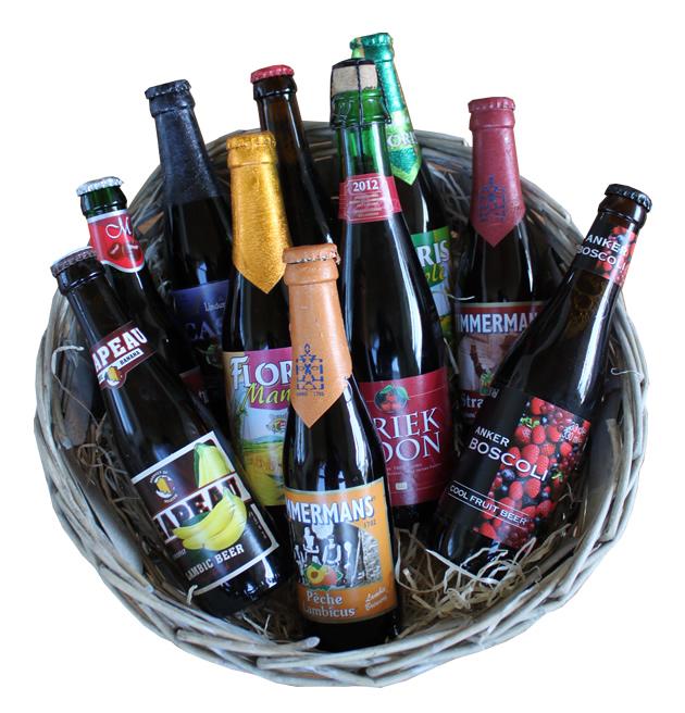 Beer basket with 10 Belgian fruit beers