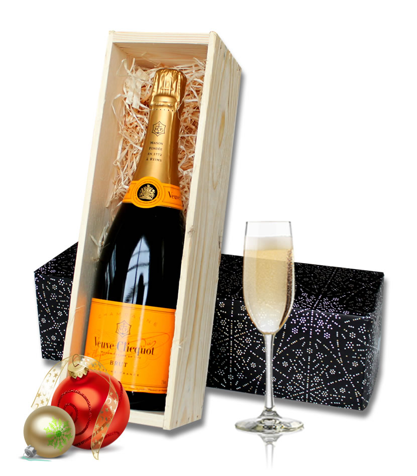 Champagne (75cl) Veuve Clicquot in wooden crate