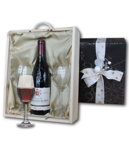 Ch�teauneuf Du Pape in wooden crate with two wine glasses