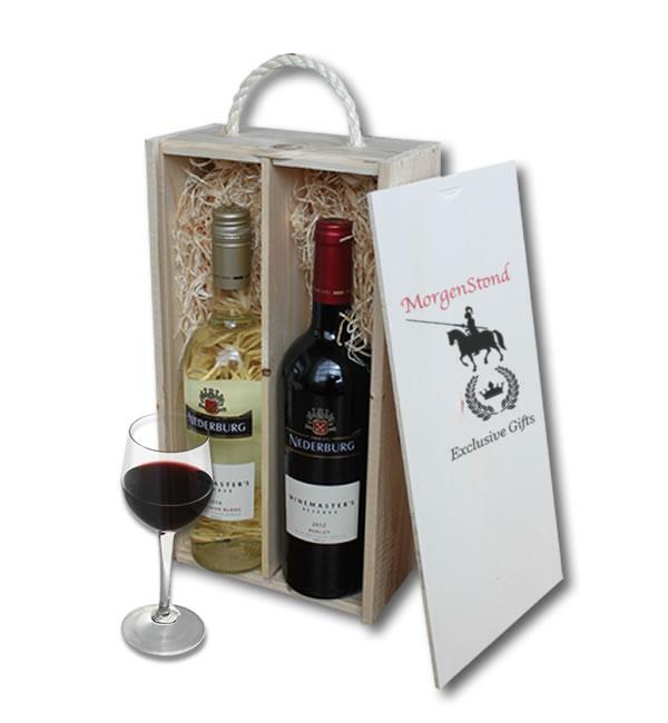 Nederburg Merlot & Sauvignon Blanc in wooden crate