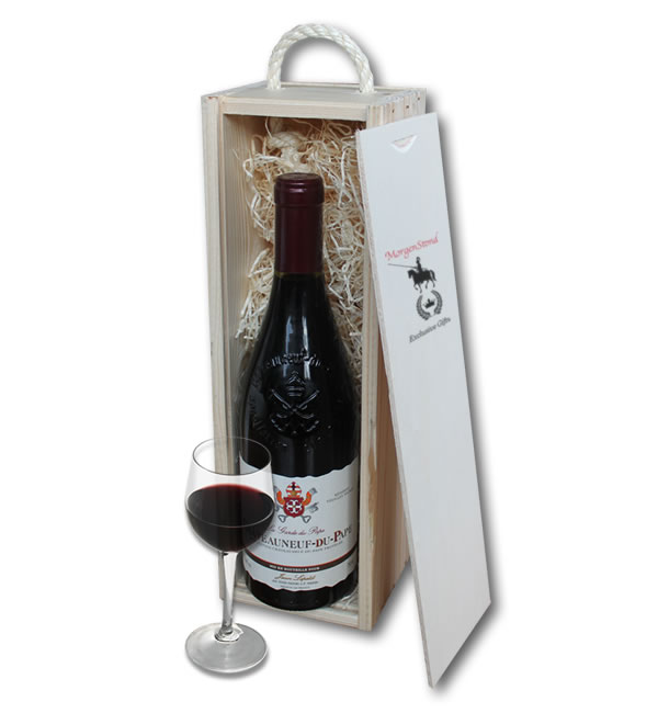 Chateauneuf Du Pape in wooden crate