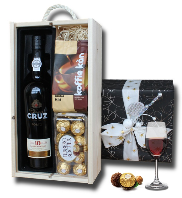 Port, Ferrero Rocher and Gourmet Coffee in a wooden crate