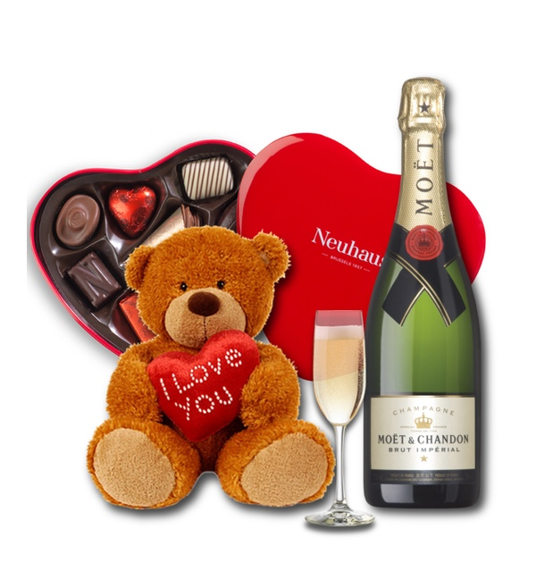 Neuhaus Belgian chocolates with champagne and a cute teddy bear