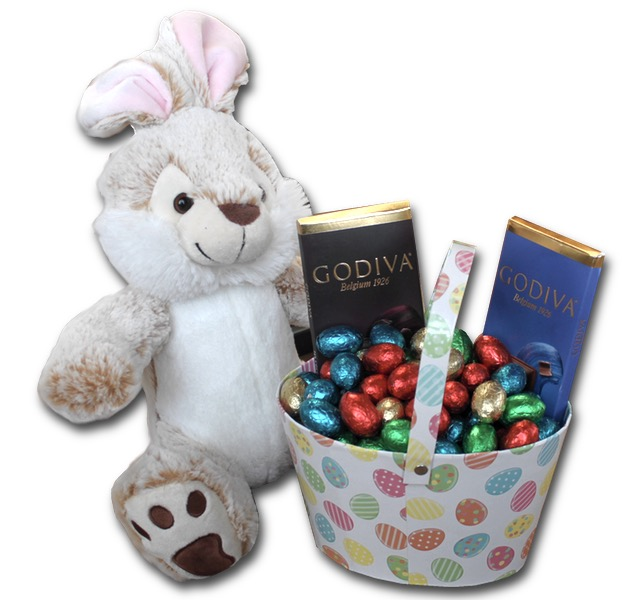 Chocolate eggs (1kg) with Godiva & Easter Bunny
